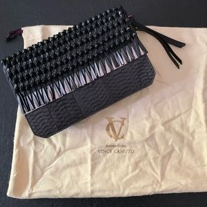 Vince Camuto Black Leather and Python Clutch